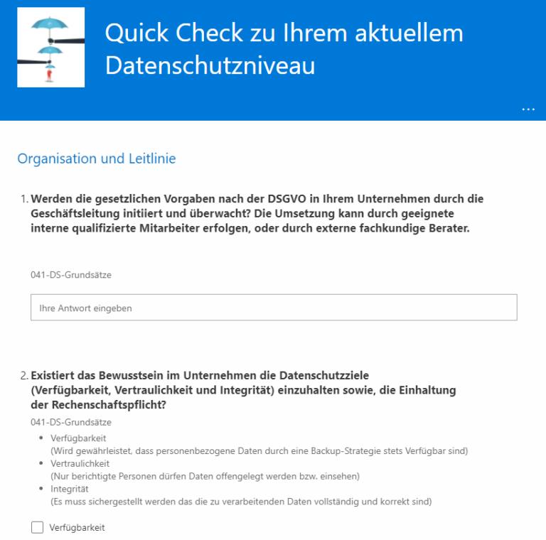 Datenschutz Quick Check